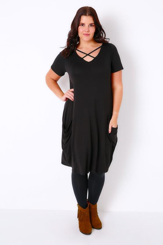 Black Jersey Swing Dress With Cross Over Neckline & Drape Pockets