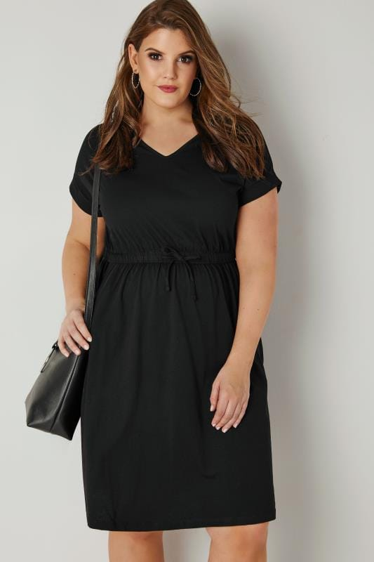 Black Jersey T Shirt Dress With Drawstring Waist Plus