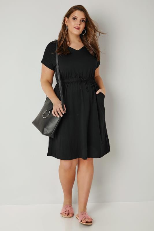 Black Jersey T-Shirt Dress With Drawstring Waist