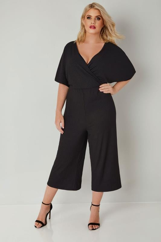 Plus Size Jumpsuits Black Cropped Culotte Wrap Front Jumpsuit