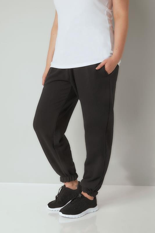 Plus Size Tracksuit Pants Black Joggers With Elasticated Cuffs
