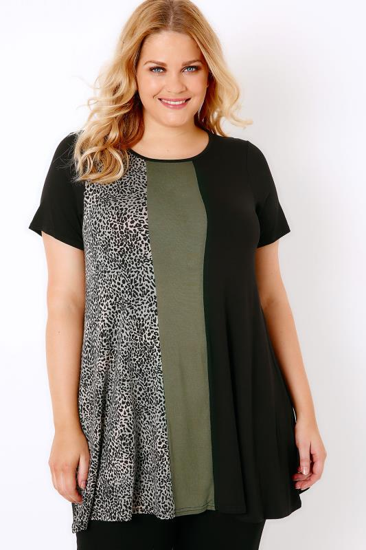 Black & Khaki Colour Block Longline Swing Top With Animal Print Panel