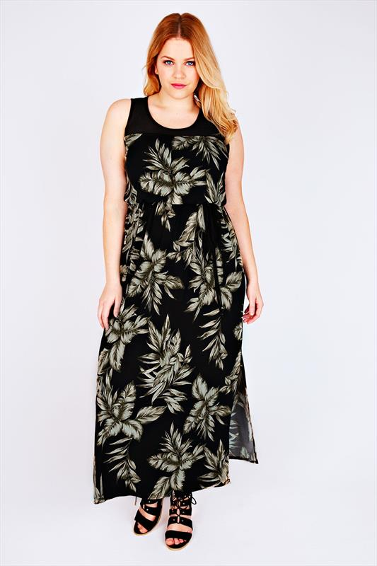 Black & Khaki Leaf Print Maxi Dress With Sheer Panel