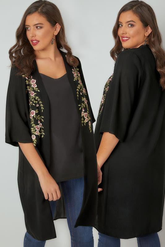 YOURS LONDON Black Kimono With Floral Embroidery