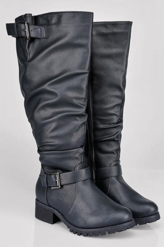 Black Knee High Biker Wide Calf Boot With Buckles In EEE Fit