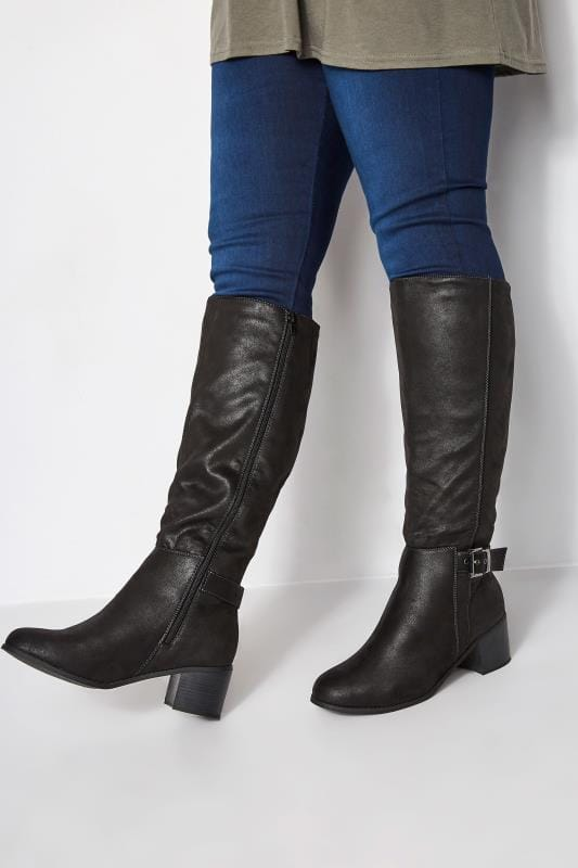 Black Knee High Buckle Heeled Boots In EEE Fit