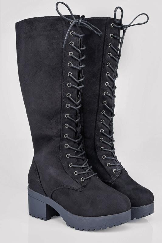 Wide Fit Knee High Boots Black Knee High Lace Up Heeled Wide Calf Boot In EEE Fit 102162