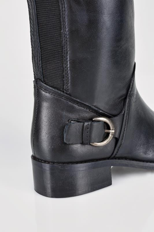 Black Leather Knee High Riding Boots With Buckle Detail In EEE Fit