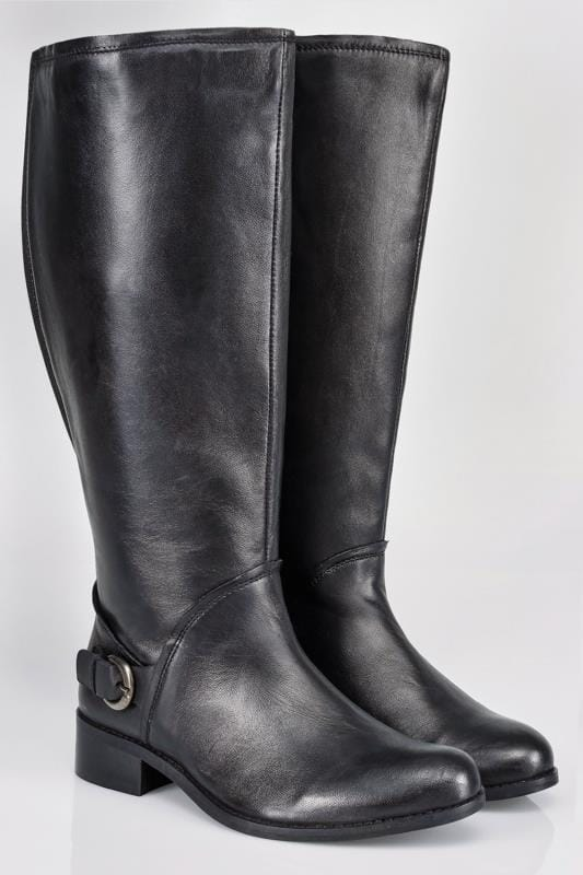 Hautes Black Leather Knee High Riding Boots With Buckle Detail In EEE Fit 049603