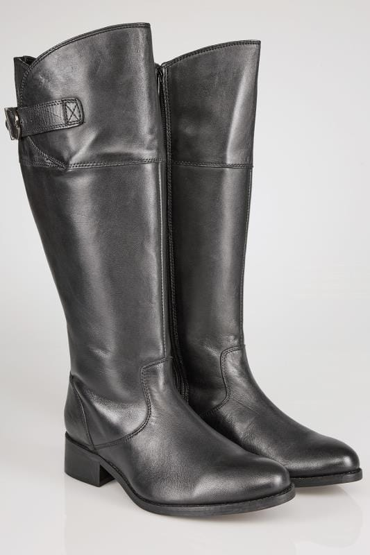 Hautes Black Leather Knee High Riding Boots With Elasticated Panels In EEE Fit 053776