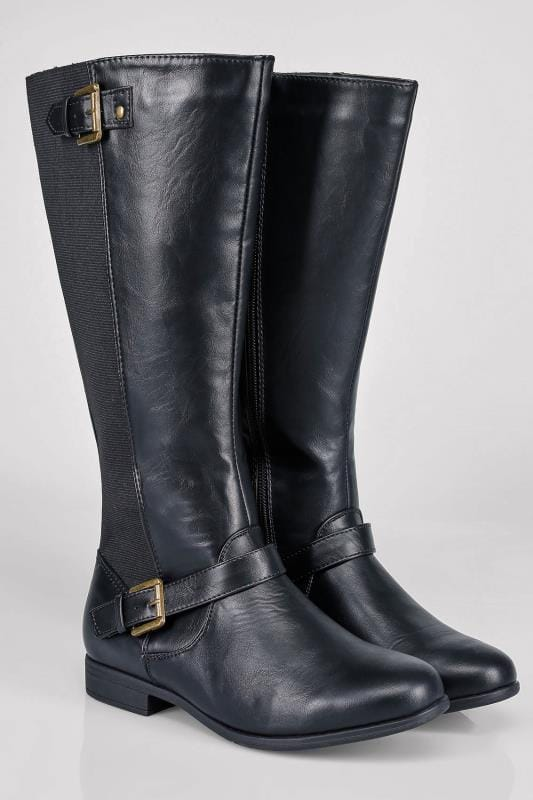 Black Knee High Riding Boot With Buckle Detail With XL Calf Fitting In EEE Fit
