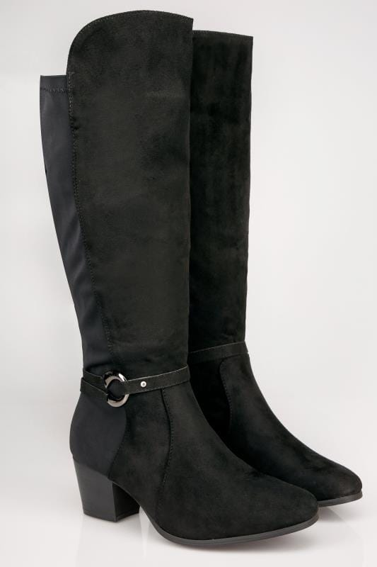 Black Knee High Stretch Heeled Boots With Buckle Strap In TRUE EEE Fit