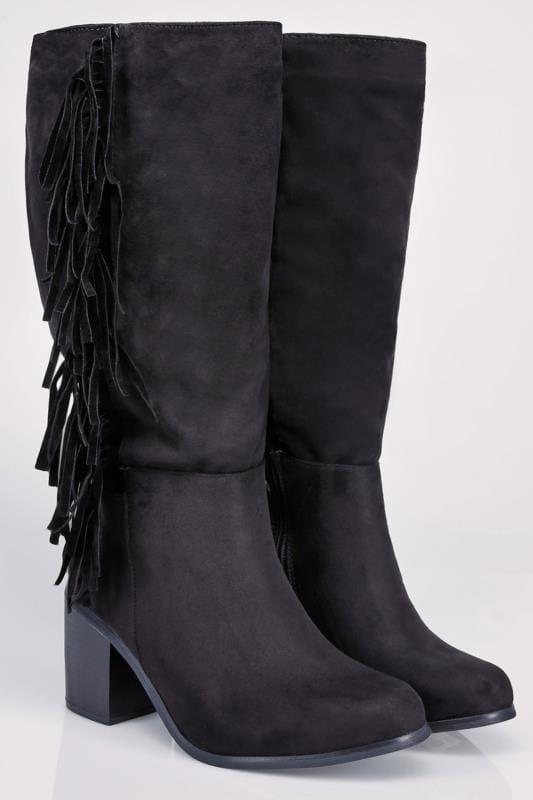 Wide Fit Knee High Boots Black Knee High Suedette Heeled Tassel Wide Calf Boot EEE Fit 102165