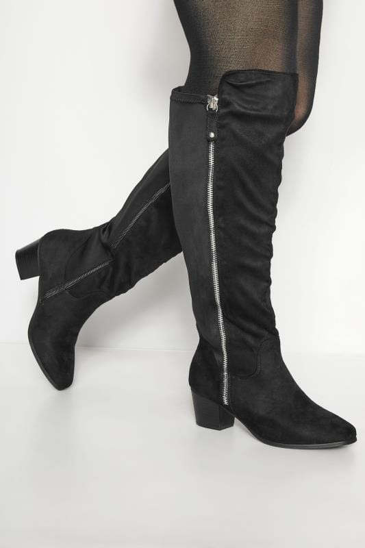 Plus Size Boots Black Knee High Zip Heeled Boots In EEE Fit