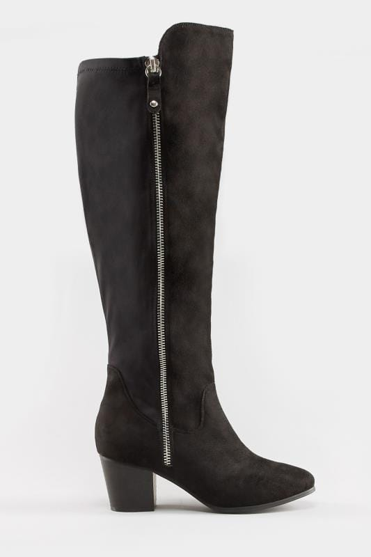 Black Knee High Zip Heeled Boots In EEE Fit