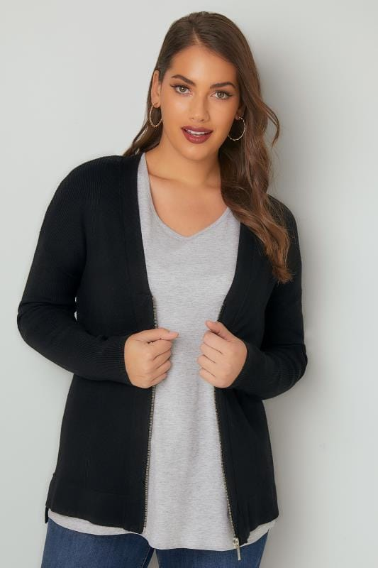Black Knit Cardigan With Zip Front