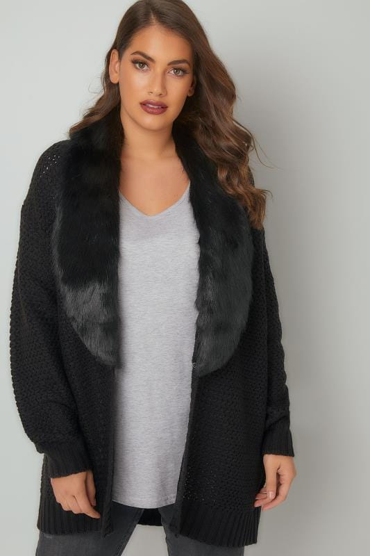 Black Knitted Cardigan With Detachable Faux Fur Collar