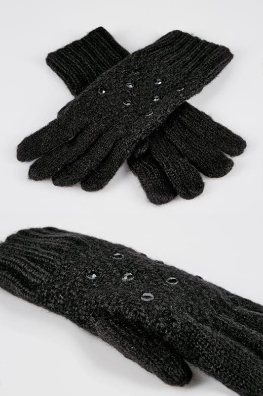 Black Knitted Gloves With Diamante Detail