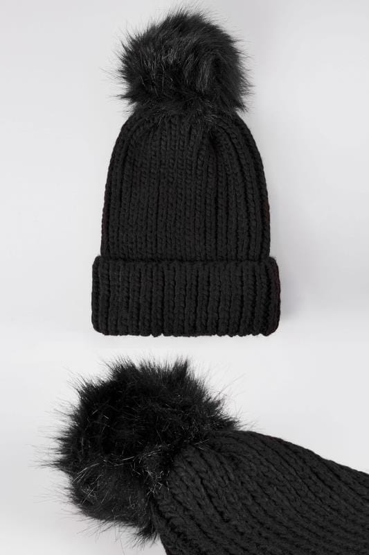 Black Knitted Hat With Pom-Pom
