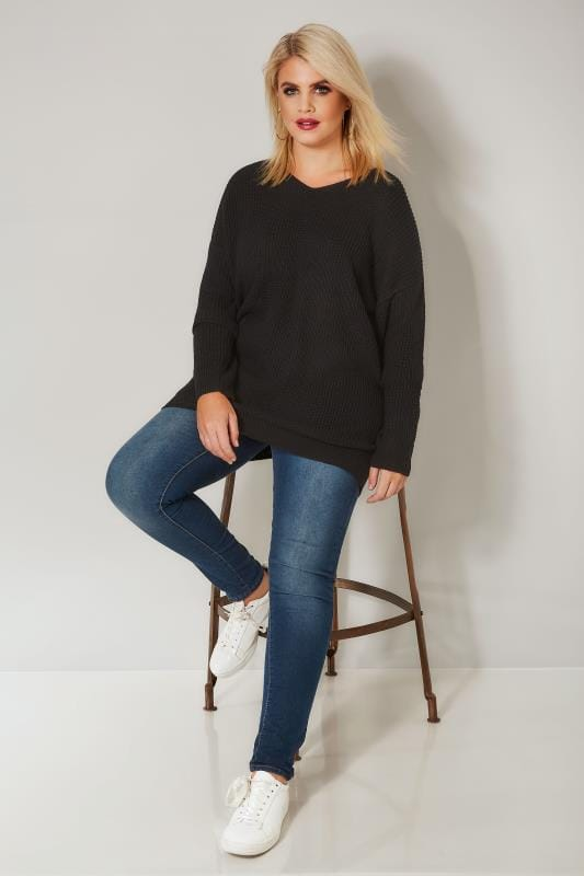 Black Knitted Jumper With Cross Over Straps