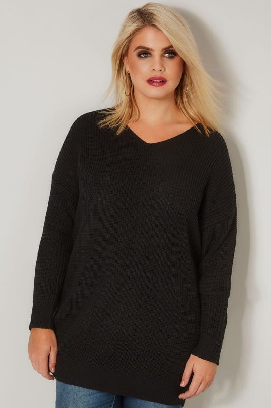 Plus Size Knitted Tops & Jumpers Black Knitted Jumper With Cross Over Straps