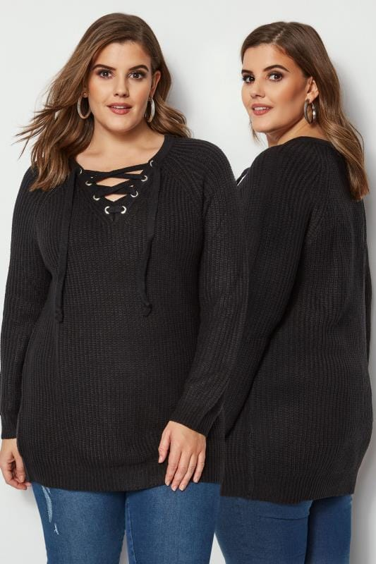 Plus Size Jumpers Black Knitted Jumper With Eyelet Lattice Front