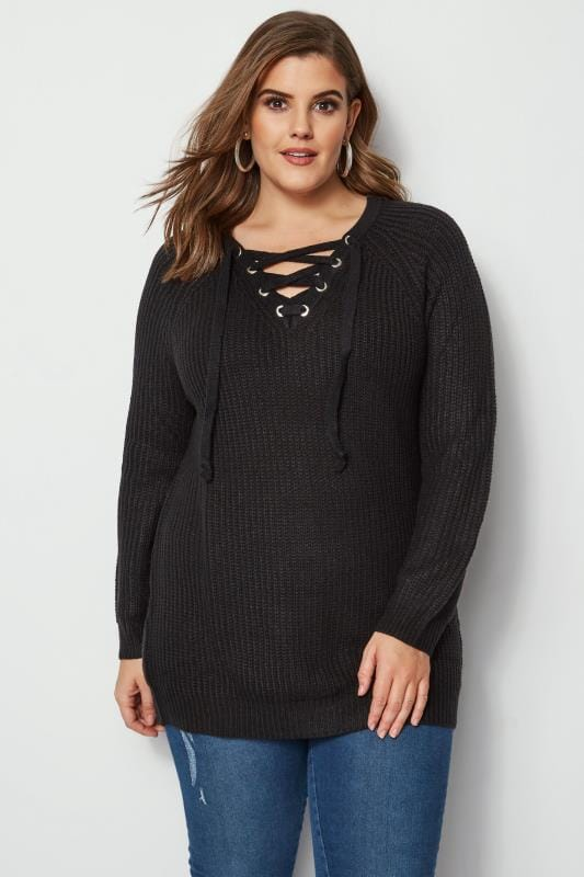 Plus Size Sweaters Black Knitted Jumper With Eyelet Lattice Front