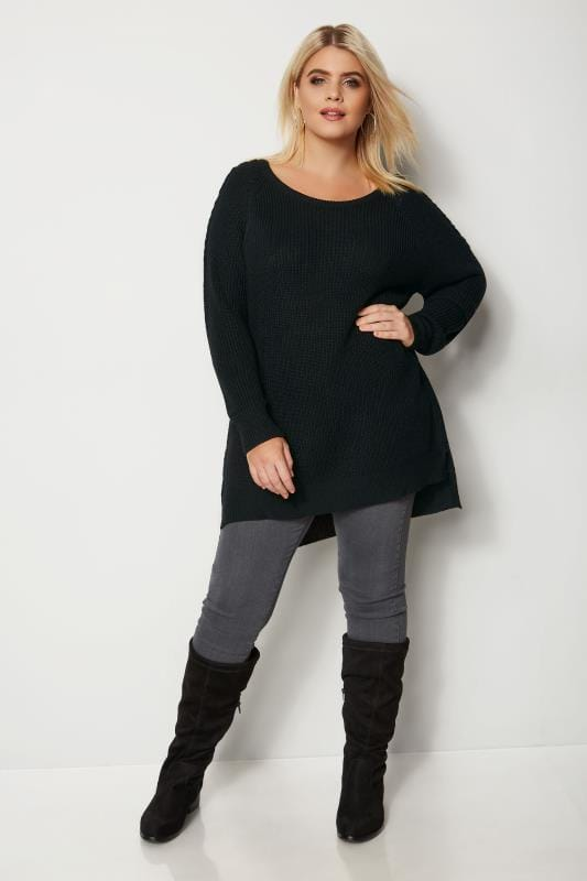 Plus Size Jumpers Black Knitted Jumper With Lattice Shoulders