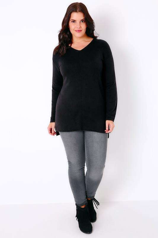 Black Knitted Longline Jumper With Ribbing Detail