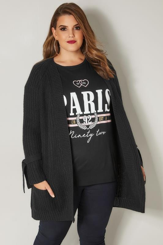 Plus Size Cardigans Black Knitted Pocket Cardigan With Tie Sleeves