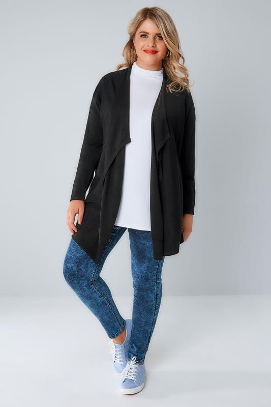Black Knitted Waterfall Cardigan