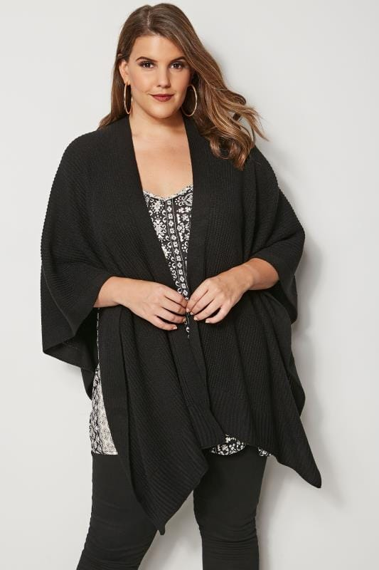 Plus Size Wraps Black Knitted Wrap