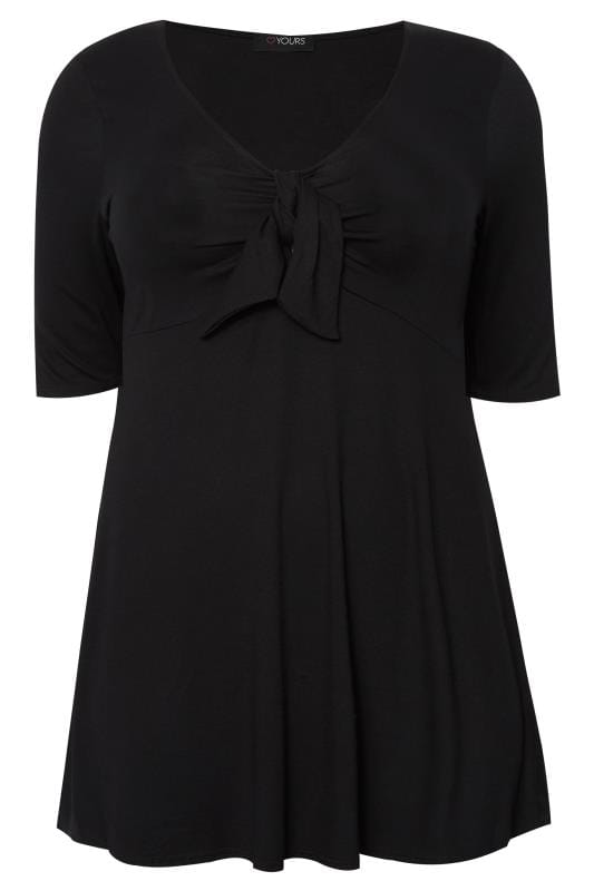 Plus Size Day Tops Black Knot Top