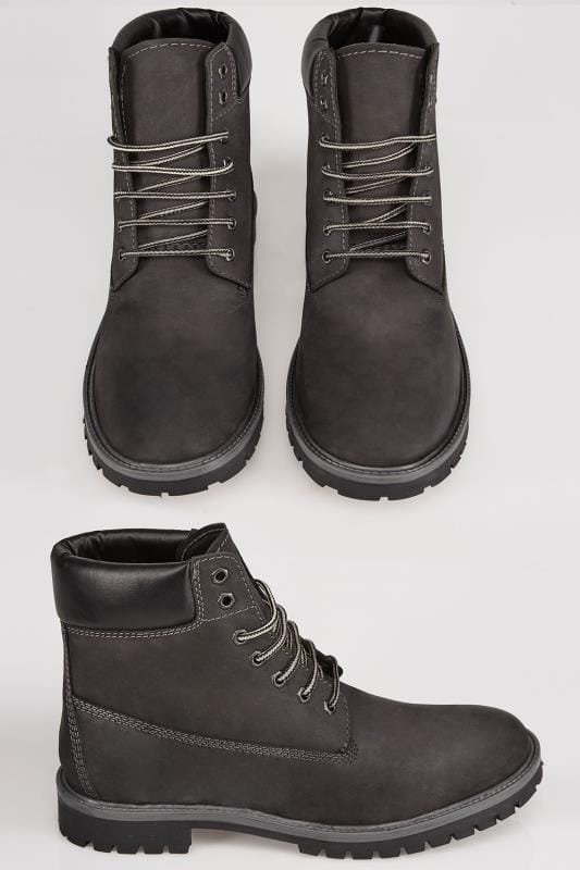 Black LEATHER Classic Lace-Up Ankle Boot In Wide Fit