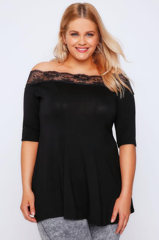 Black Lace Bardot Top With Half Sleeves
