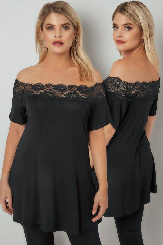 Jersey Tops Black Lace Bardot Top With Short Sleeves 103361