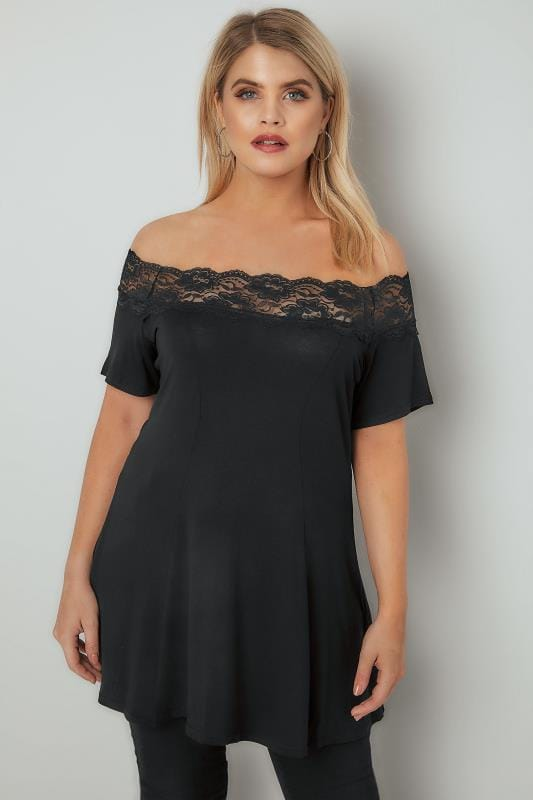 Black Lace Bardot Top With Short Sleeves