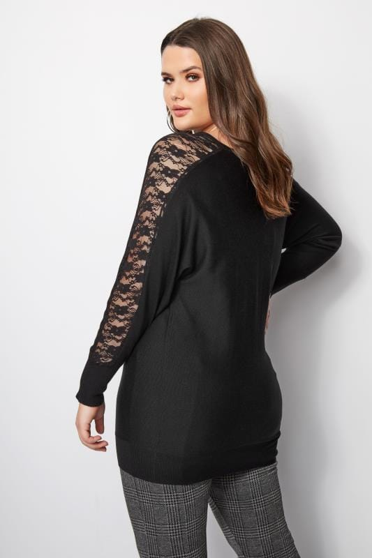 Plus Size Knitted Tops & Jumpers Black Lace Batwing Jumper