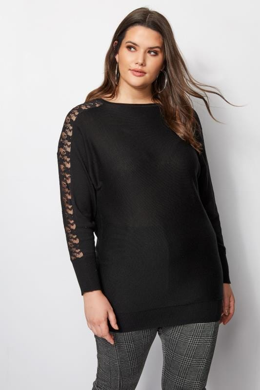 Black Lace Batwing Jumper