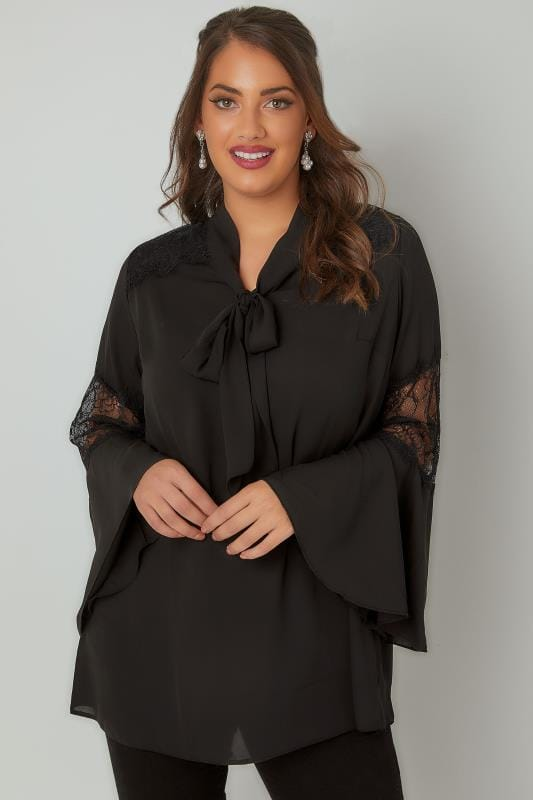 Plus Size Blouses YOURS LONDON Black Lace Blouse With Flute Sleeves & Pussy Bow Tie