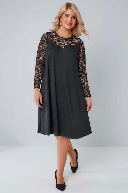 YOURS LONDON Black Lace & Crepe Mix Swing Dress With Sweetheart Neckline