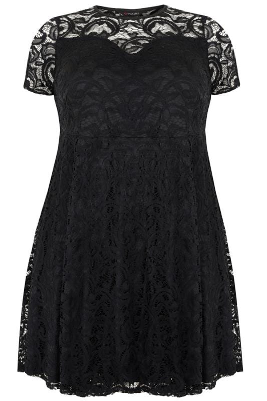 Black Lace Knee Length Skater Dress Plus Size 16 To 32