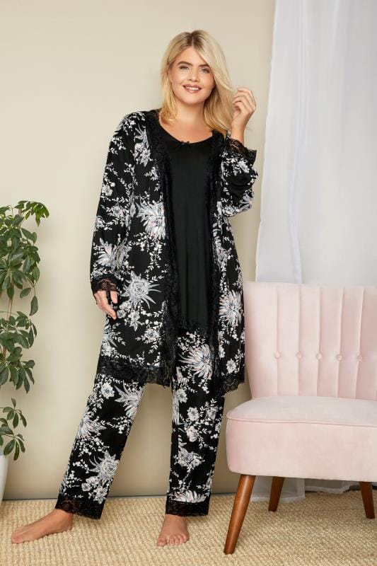 Black Lace Loungewear Top