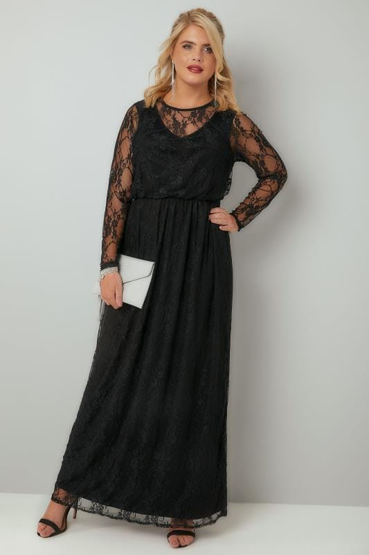 Black Lace Long Sleeve Maxi Dress With Elasticated Waist Plus Size