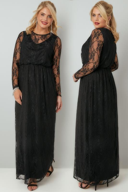 YOURS LONDON Black Lace Long Sleeve Maxi Dress With Elasticated Waist