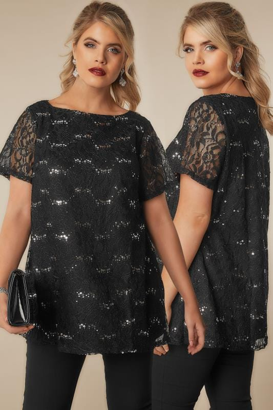 Plus Size Party Tops Black Lace Shell Top With Sequin Details