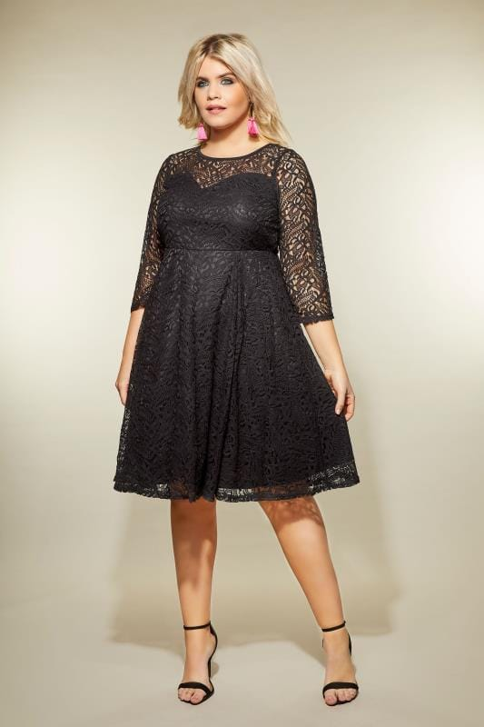 Plus Size Black Dresses Black Lace Skater Dress
