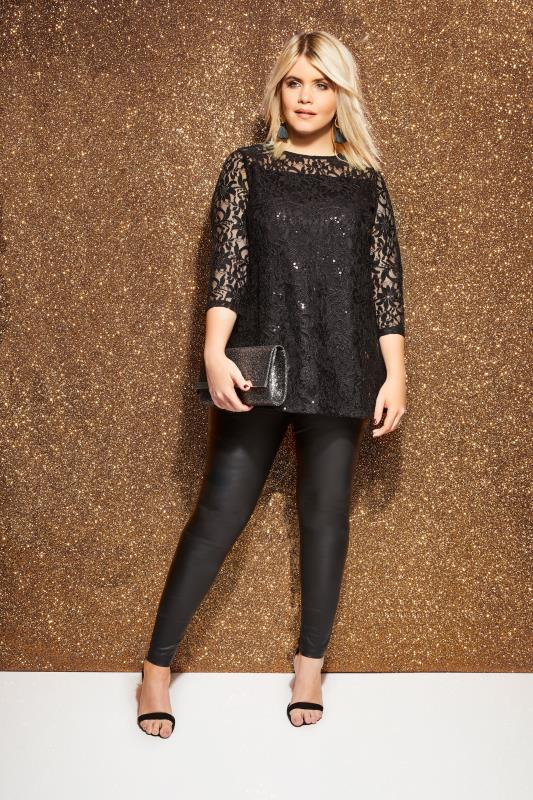 Black Lace Swing Top