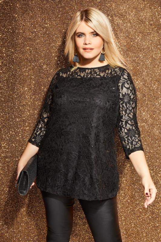 Plus Size Day Tops Black Lace Swing Top