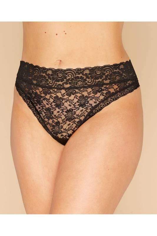 Plus Size Briefs & Knickers Black Lace Thong